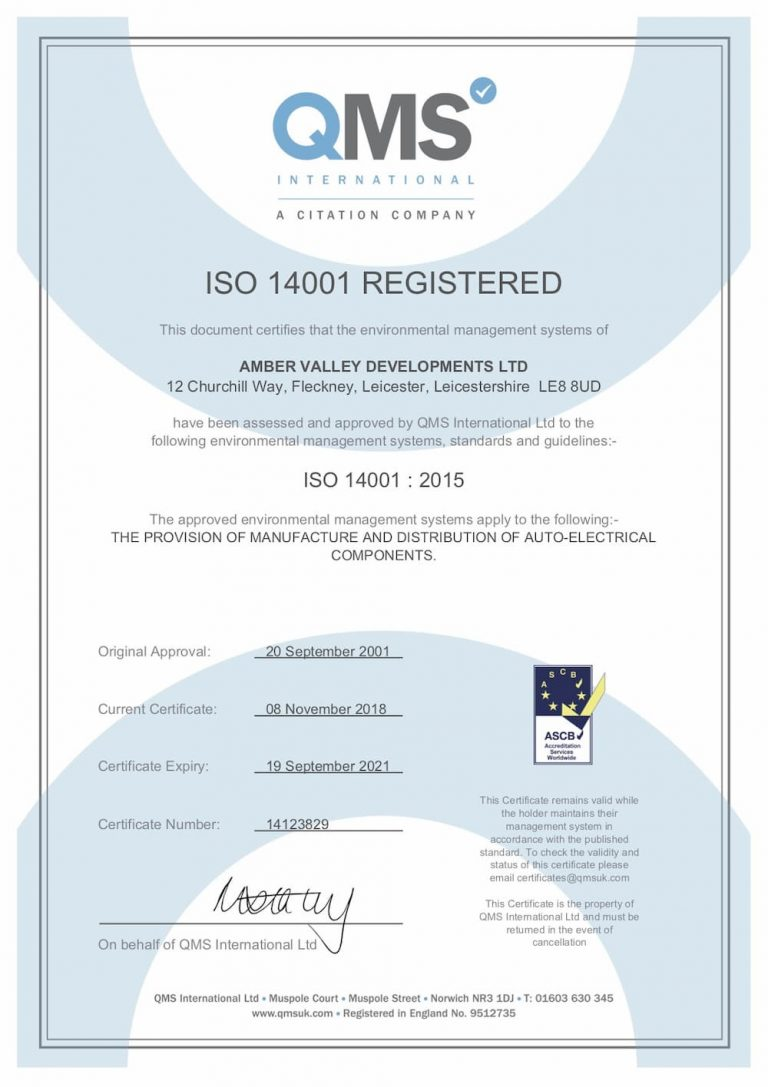Amber Valley LLP ISO 14001 certificate 1000