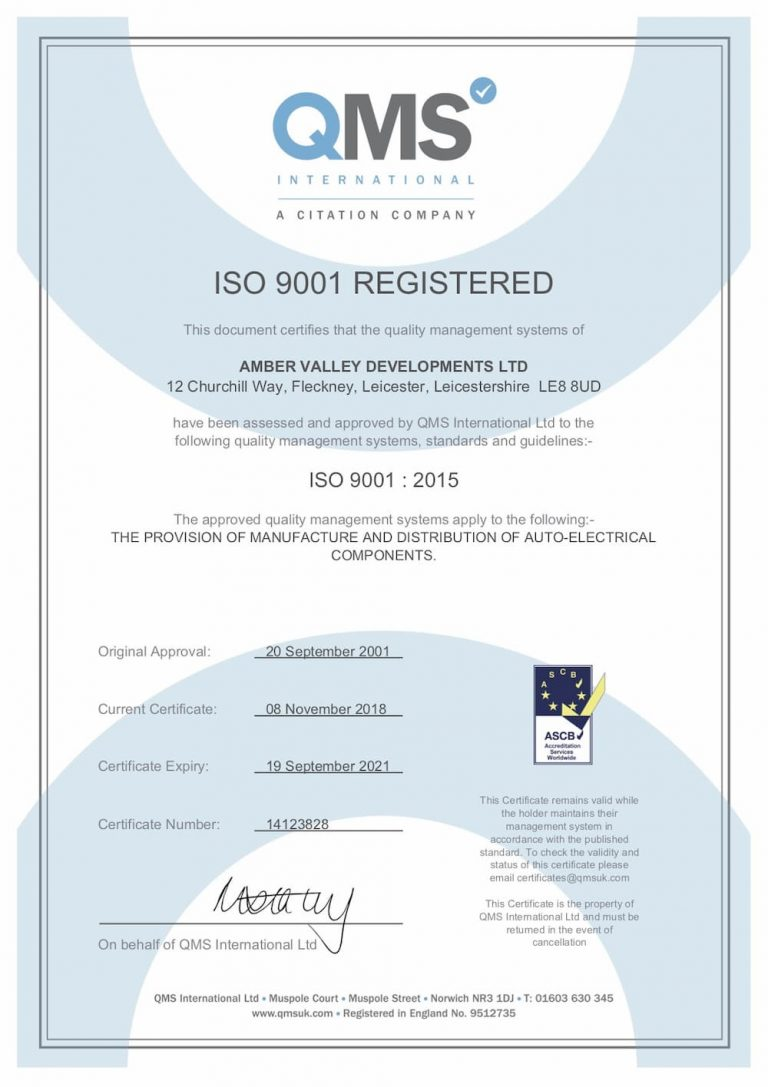 Amber Valley LLP ISO 9001 certificate 1000