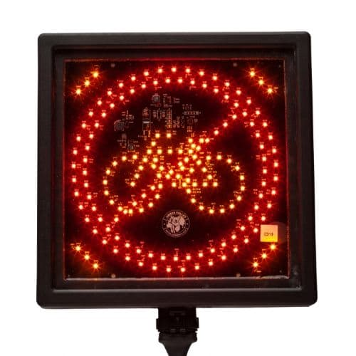 AVCSWL05 SQUARE LED CYCLE LIGHT WARNING SIGN AMBER RED