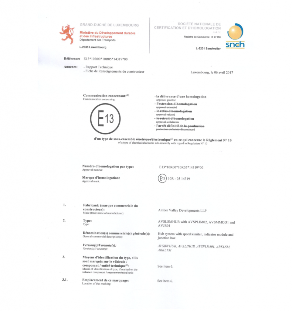 E13, 10R-05 14319 Approved Mark Certificate